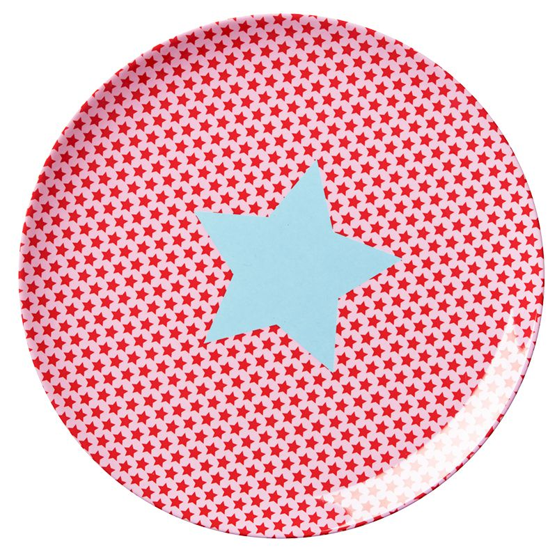Image of Tallerken fra Rice - Melamin - Mellem - Stars Red (KILPL-STARG)