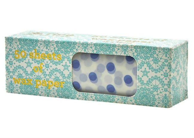 Image of Madpakke papir fra RICE 15x15cm - Blue Dots (50 stk) (KISAW-50SDOTXC_BLUE)
