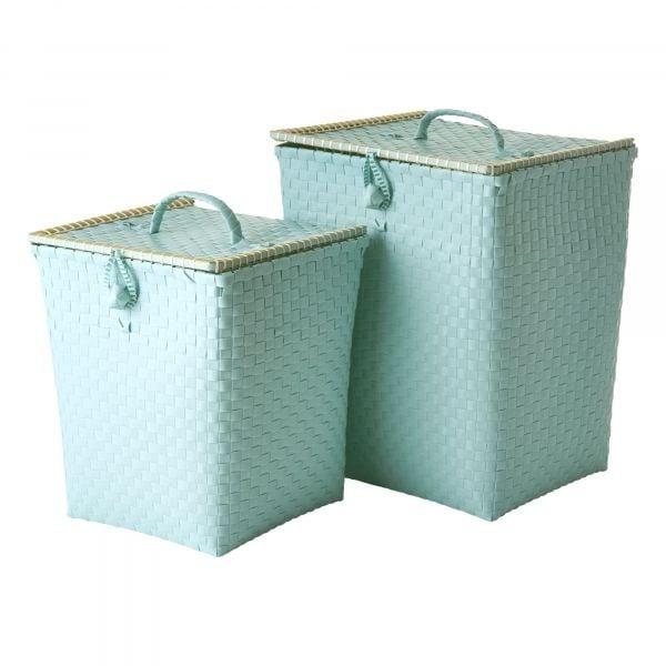 Image of Opbevaringskurve fra Rice - Flettet plast - Mint (Sæt) (BSPST-2ZMI)