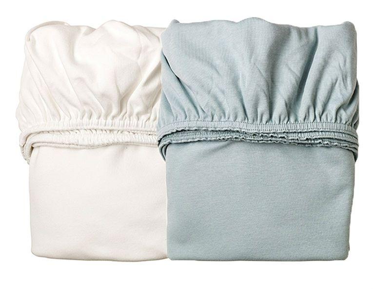 Billede af Lagen til vugge fra Leander - White / Misty Blue (2 stk)