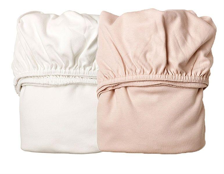 Billede af Lagen til vugge fra Leander - White / Soft Pink (2 stk)