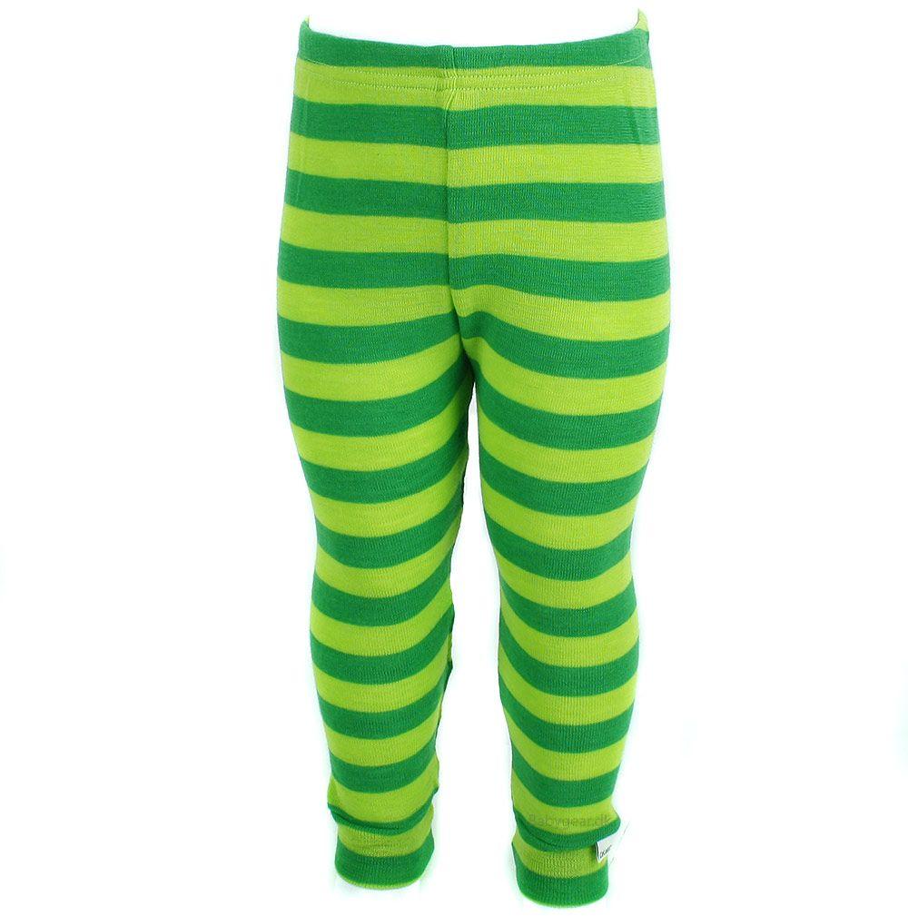 Celavi – Uld leggings / natbukser fra celavi - grønne striber fra babygear.dk