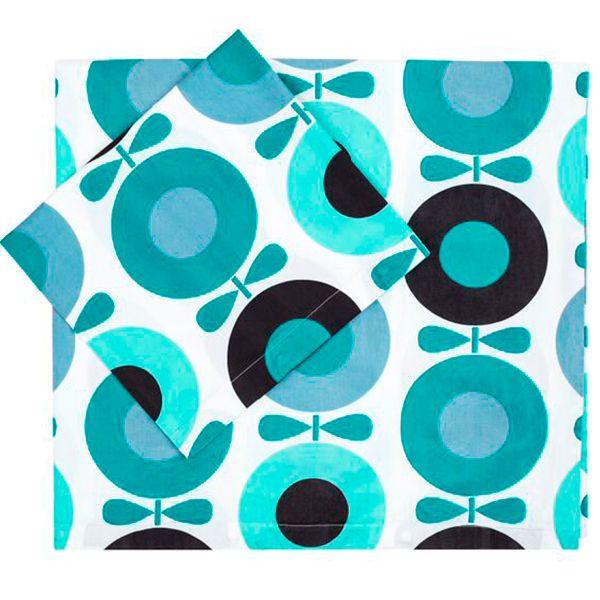 Image of   Sengetøj fra Katvig - Big Apple - Petrol Blue (Økologisk)