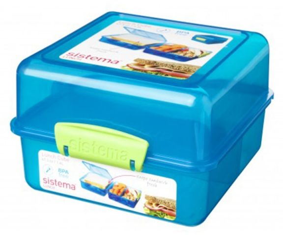 Image of   Madkasse Lunch Cube fra Sistema Itsy Bitsy - Aqua/Lime
