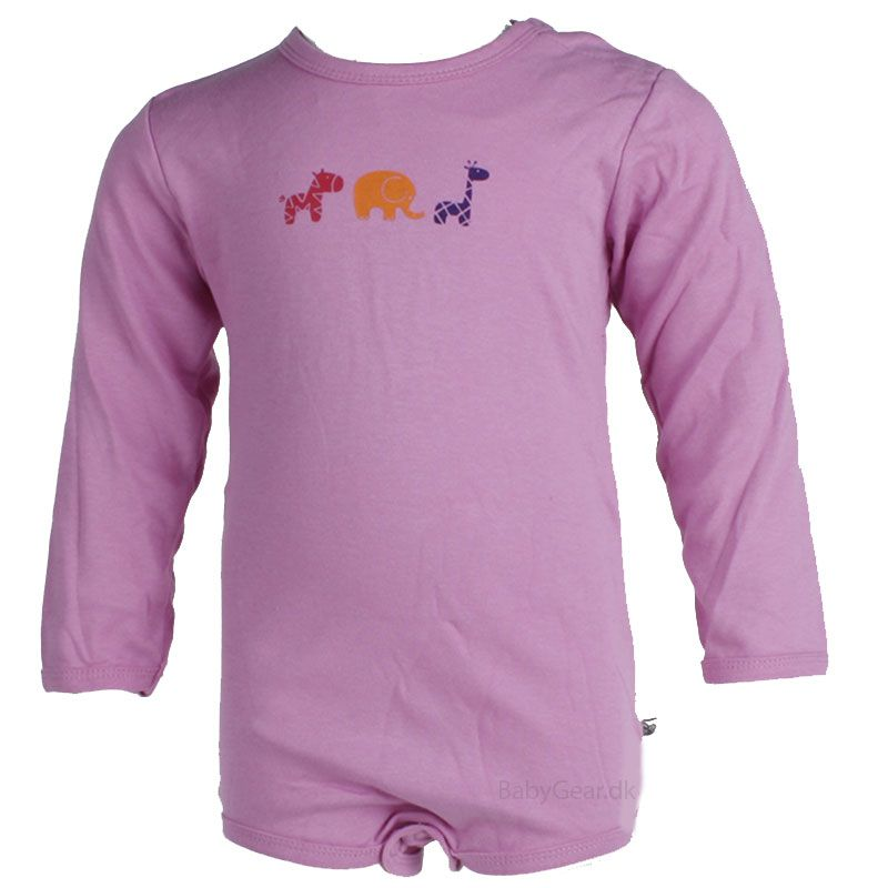 Image of   Body fra Pippi - lange ærmer - Ensfarvet baby pink (Økotex 100)