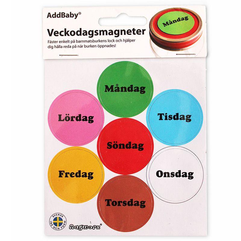 Ugedage magneter til mad på glas fra addbaby fra Addbaby på babygear.dk