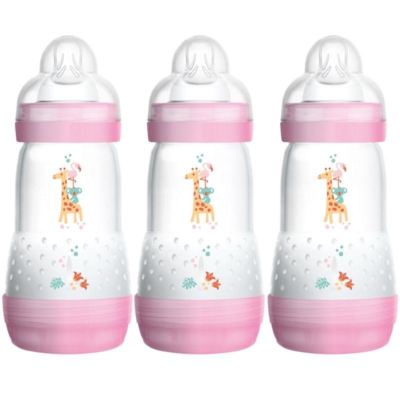 Anti-kolik sutteflasker fra MAM (3 x 260ml) - Rosa