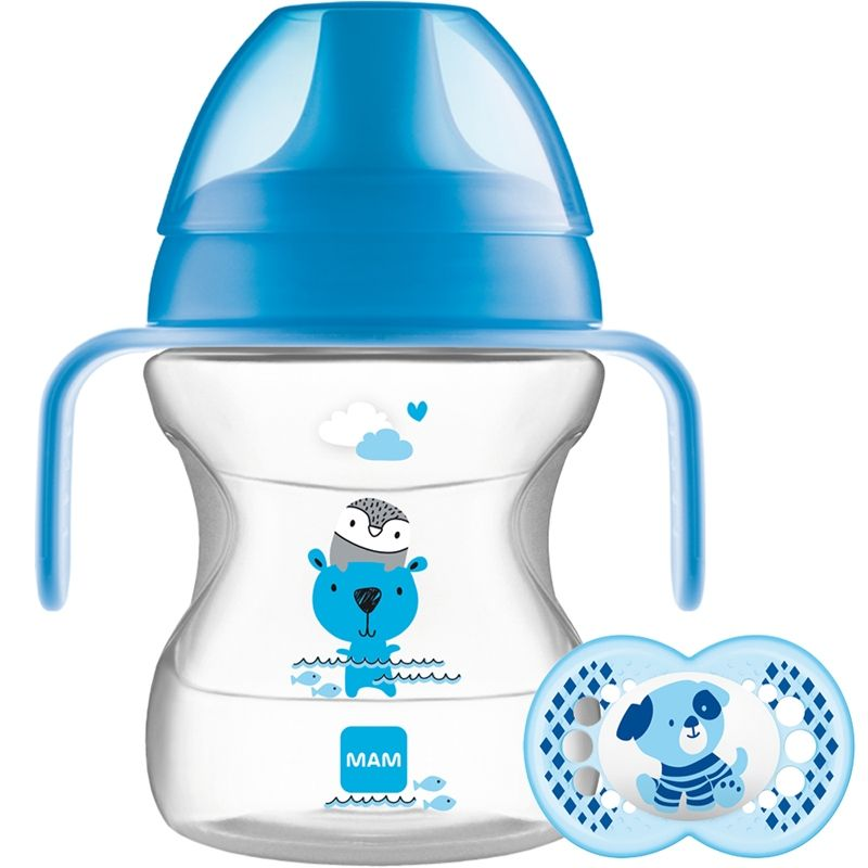 Image of   Drikkekop og sut fra MAM - Learn to Drink Cup & Soother (6m+) - Blå