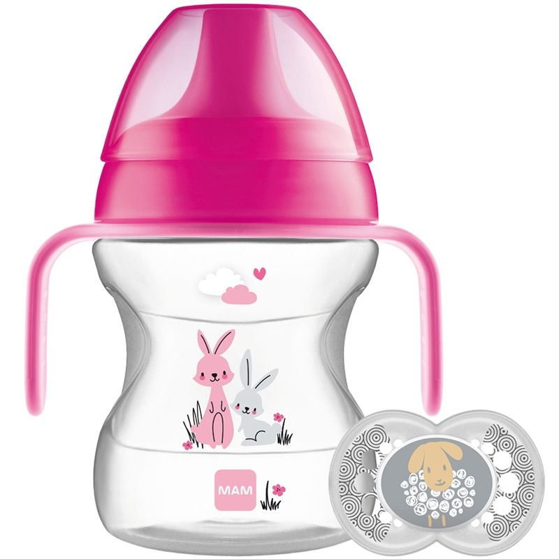 Image of   Drikkekop og sut fra MAM - Learn to Drink Cup & Soother (6m+) - Pink