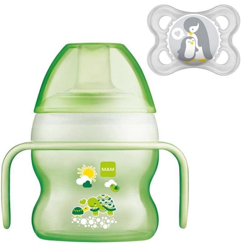 Image of   Drikkekop og sut fra MAM - Starter Cup & Soother (4m+) - Lime