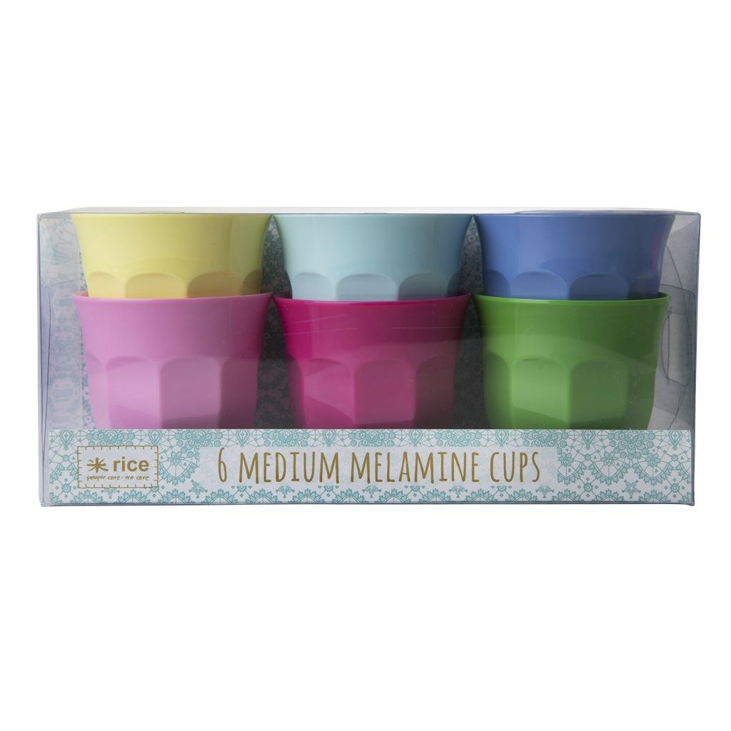 Image of Krus fra RICE - Melamin - Medium - Classic Colours (6-pak) (MELCU-6MCLAXC)