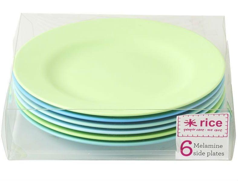 Image of   Tallerkensæt fra Rice - Melamin - Mellem - Blue and Green (6 farver)