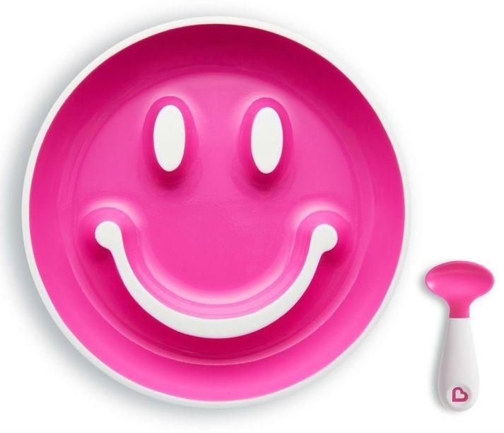 Image of Begynder tallerken m. sugekop og ske - Munchkin Smilen Scoop - Pink (MKN-FED34_pink)