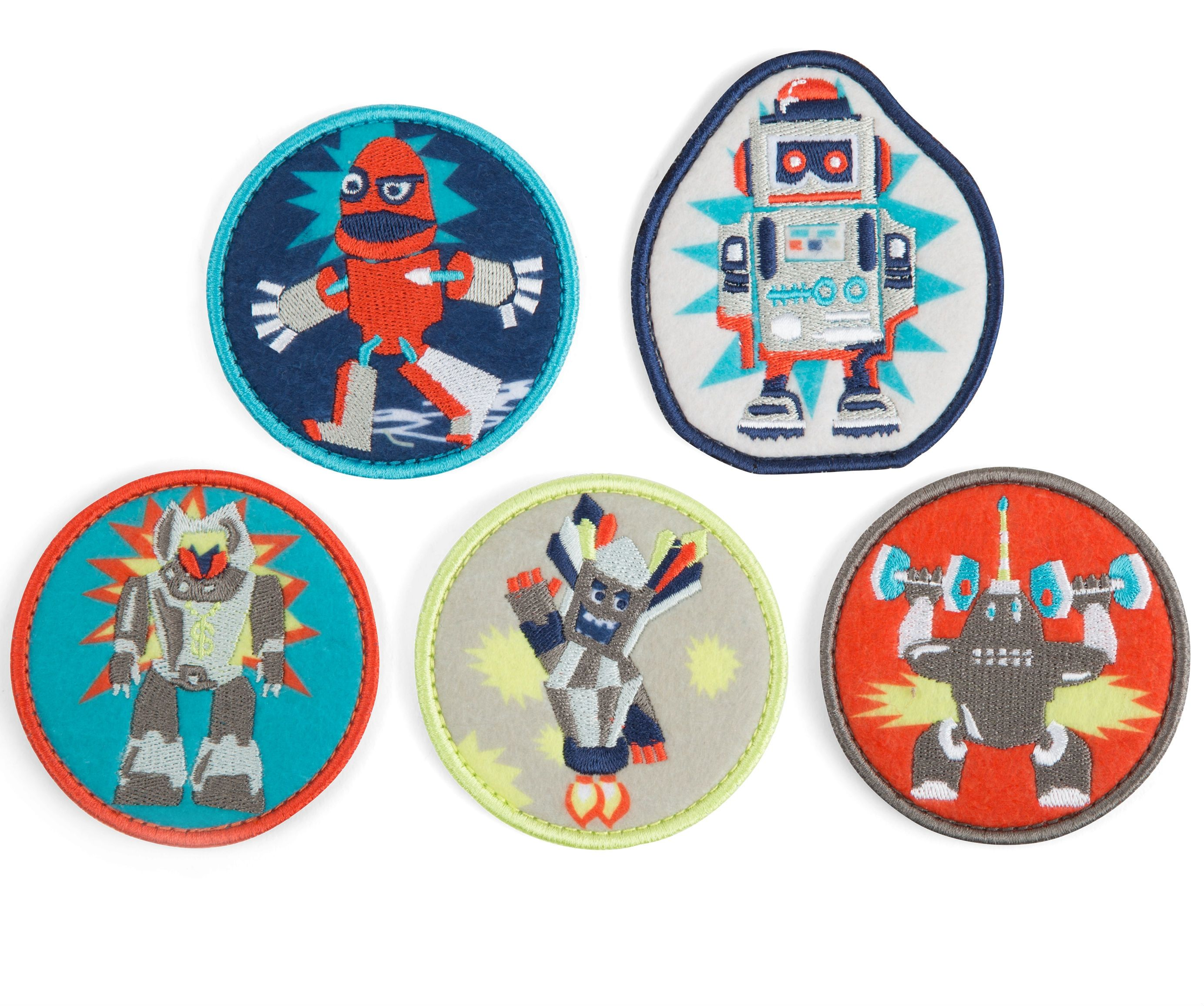 Image of Badges til Ergobag skoletaske - Fancy Kletties - Tekstil - Robotter (erg-kle-002-028(Fancy))
