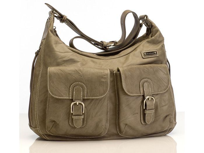 Image of   Pusletaske fra Storksak - Emily Leather Taupe