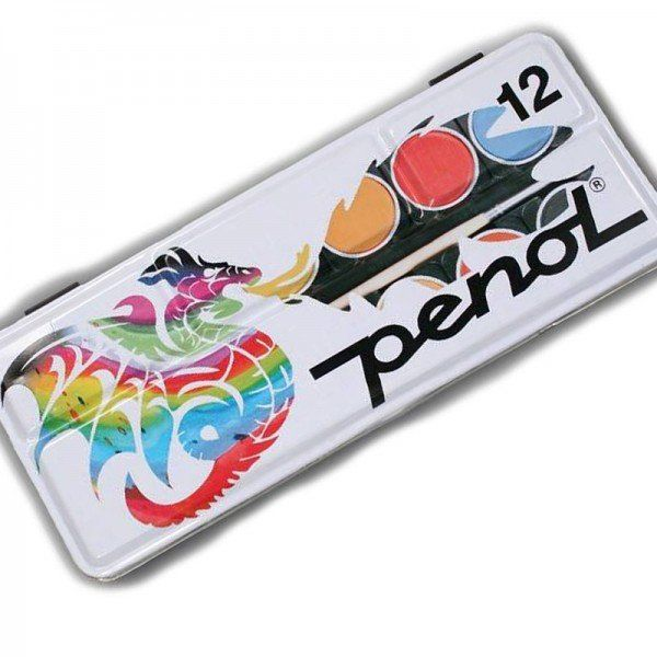 Penol – Vandfarve fra penol - metalæske (12 farver) fra babygear.dk