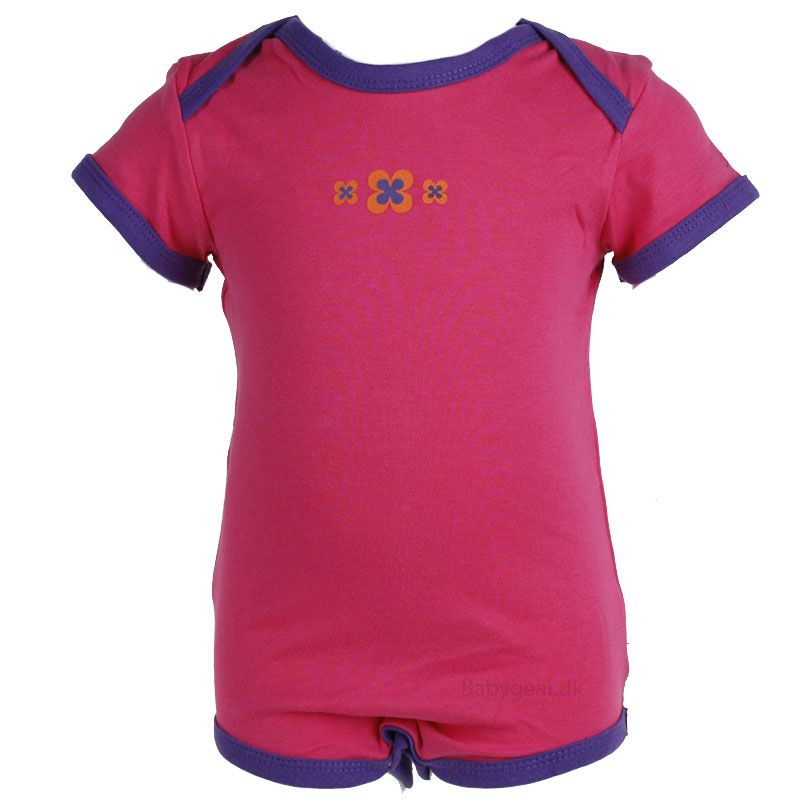 Image of   Body fra Pippi - korte ærmer - pink m. lilla (Økotex 100)