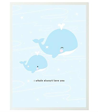 Image of Plakat fra A Little Lovely Company - I Whale Always Love You (50x70) (POWHBU32)