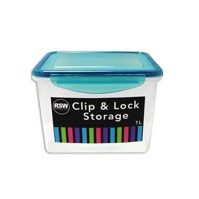 Opbevaringsboks - clip & lock med pakning - 1 liter (aqua) fra First steps på babygear.dk