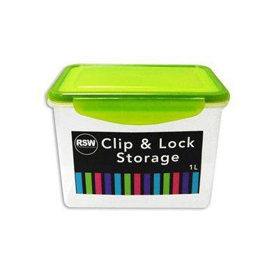 First steps Opbevaringsboks - clip & lock med pakning - 1 liter (grøn) på babygear.dk