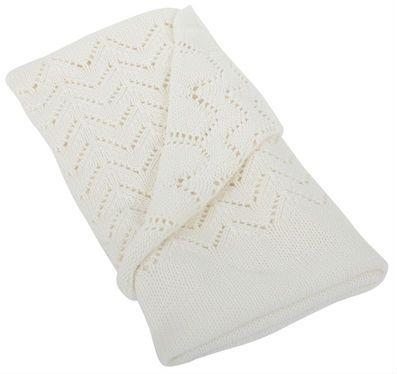 Tæppe fra Silvercloud - Hulmønstret bomuldstrik - Cream