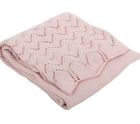 Image of   Tæppe fra Silvercloud - Hulmønstret bomuldstrik - Dusty Pink