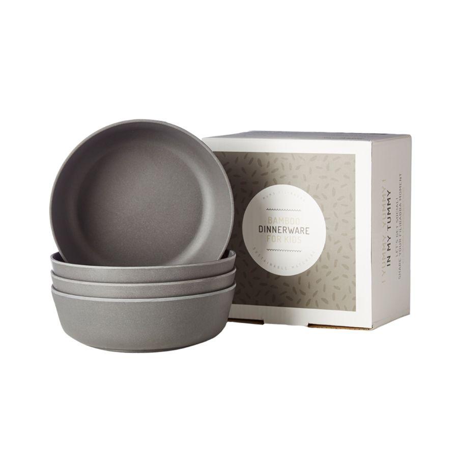 Filibabba – Skål fra filibabba - bambus - dark grey (4 stk) på babygear.dk
