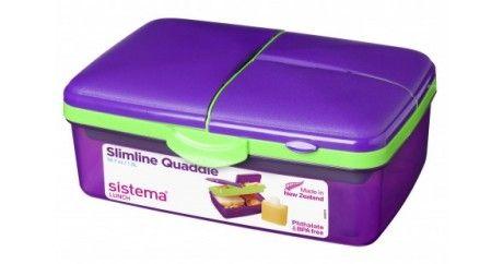Madkasse m. køleelement - Sistema Quaddie Slimline i Lilla/Lime