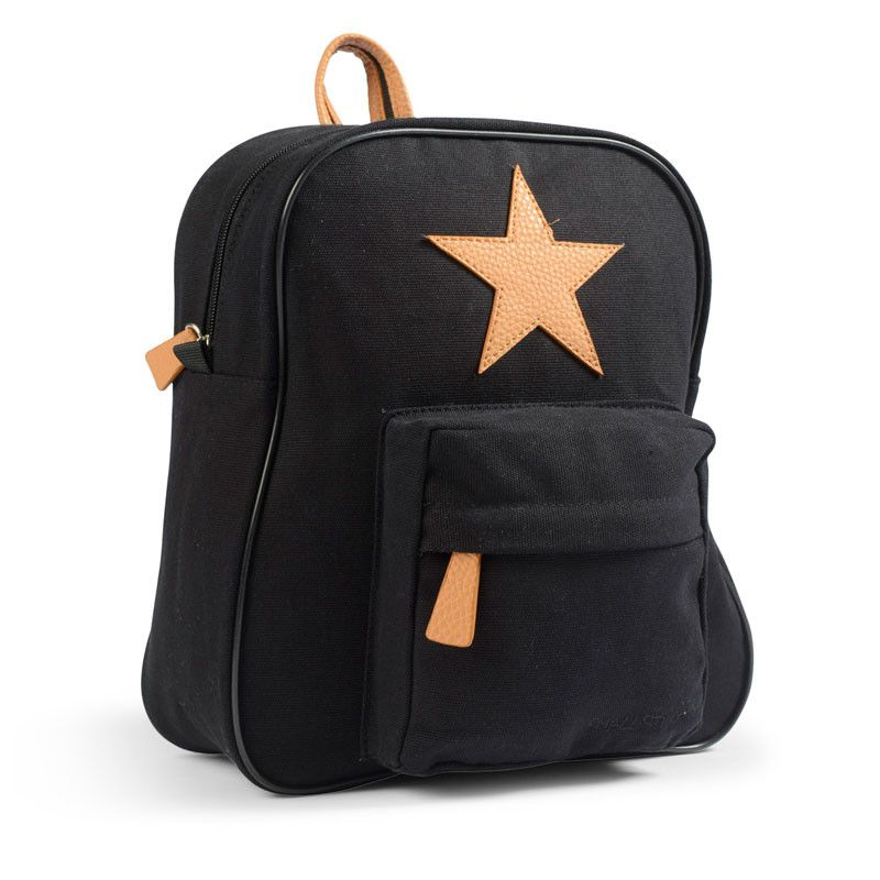 Lille rygsæk fra Smallstuff - Leather Star - Sort
