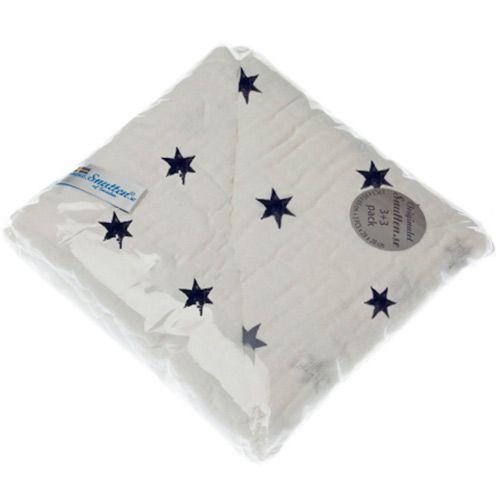Image of Luksus stofbleer og vaskeklude fra Snutten (6 stk) - Navy Star (snutten_mix_navy)