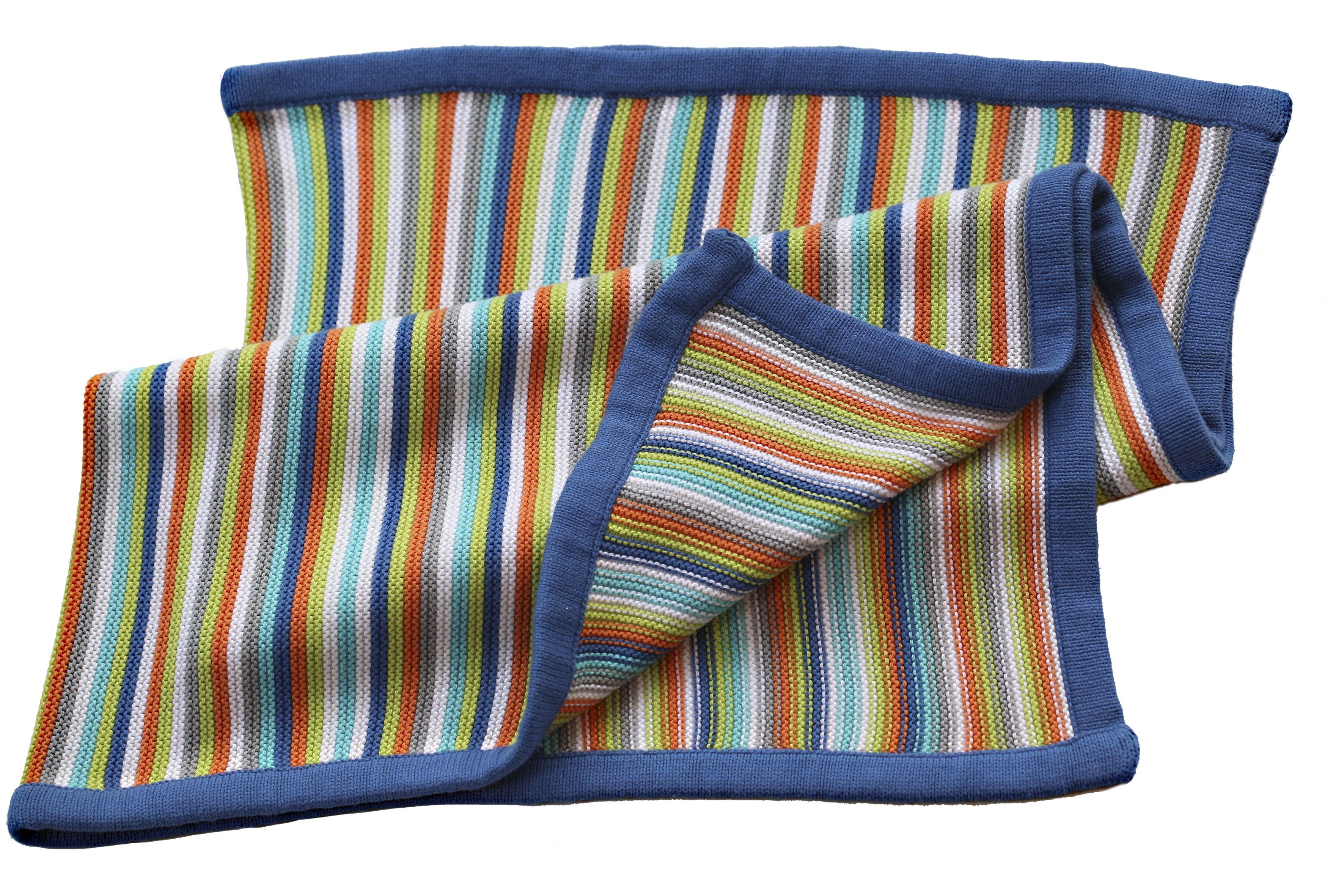 Tæppe fra BLISS - Strikket Stripey - Blue (80x100 cm)