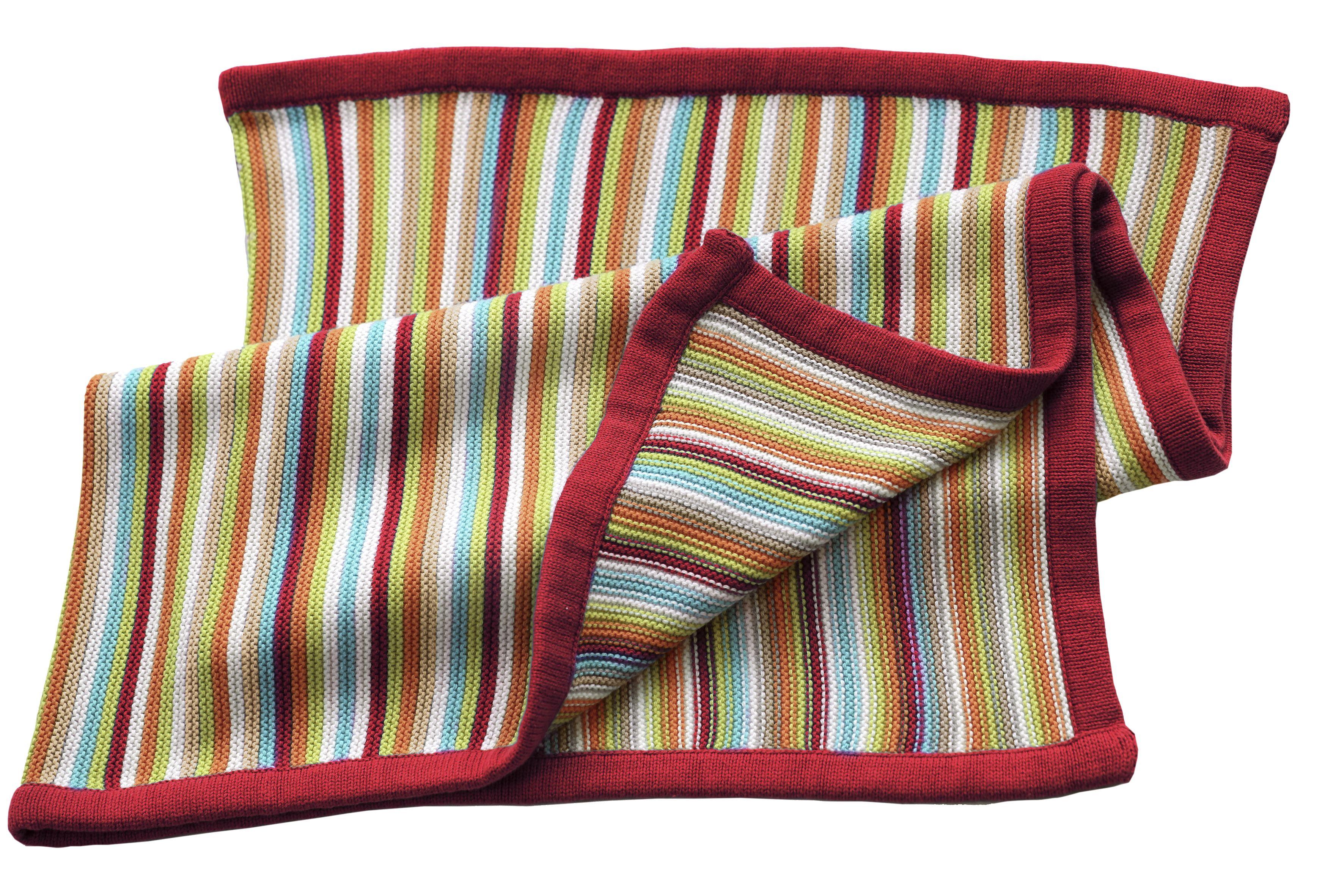 Tæppe fra BLISS - Strikket Stripey - Red (80x100 cm)