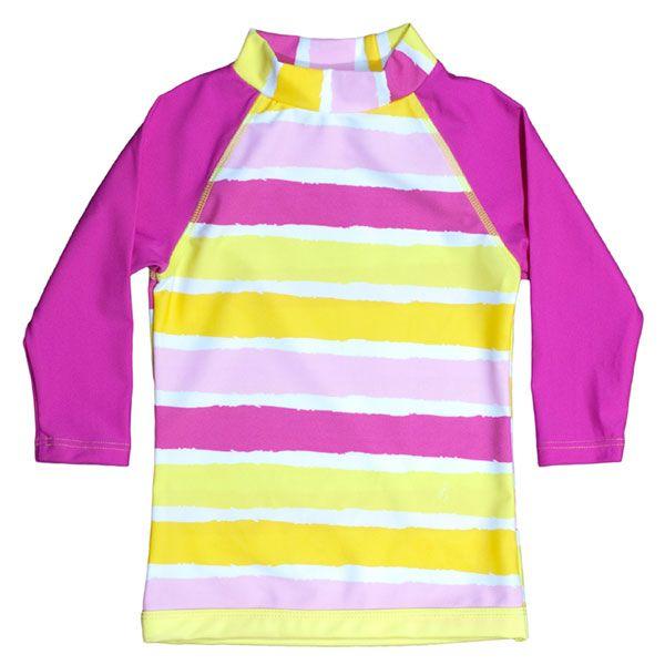Image of UV trøje fra Baby Banz - lange ærmer - Pink Yellow Stripe (7002)