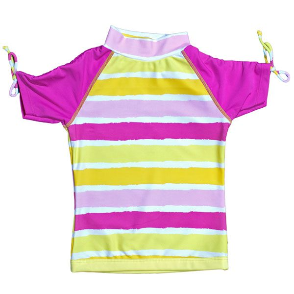 Image of UV T-shirt fra Baby Banz - korte ærmer - Pink Yellow Stripe (7005)