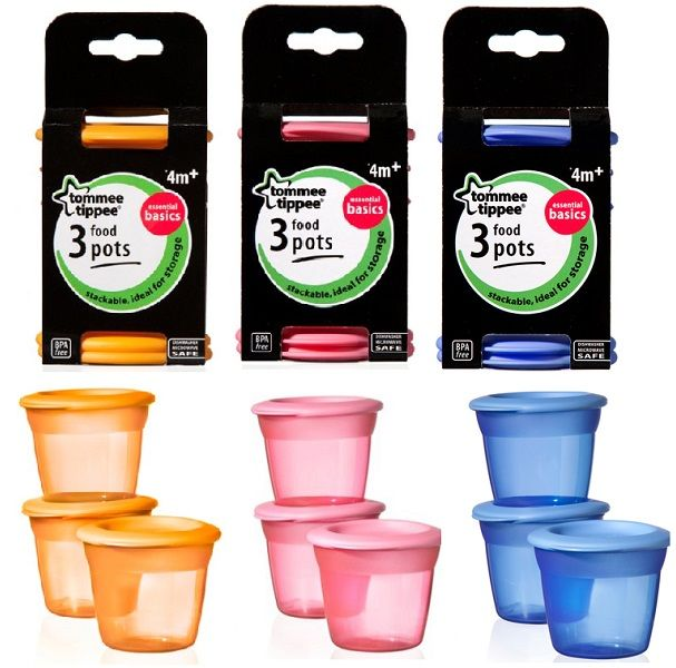 Image of Madbokse fra Tommee Tippee - Basic Food Pots x3 (TT-FED33)