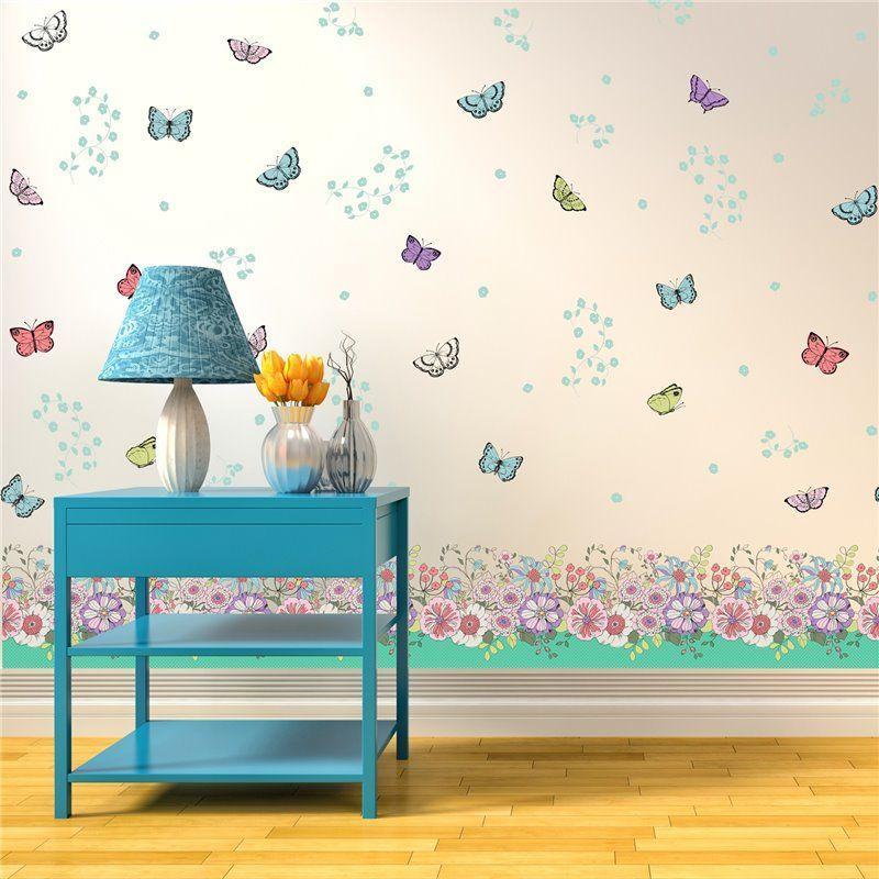 Image of   Wall sticker - Blomster, sommerfugle fodpaneler