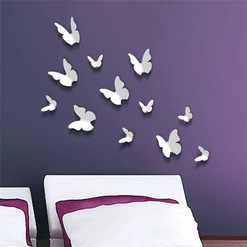Image of   Wall sticker - 3D Butterfly - Hvid
