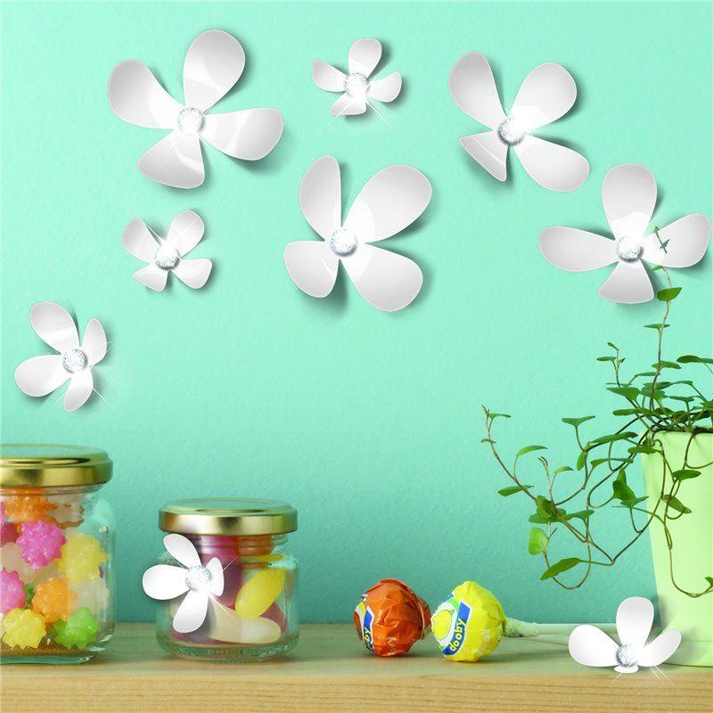 Wall sticker - crystal 3d blomster - hvid fra Walplus fra babygear.dk