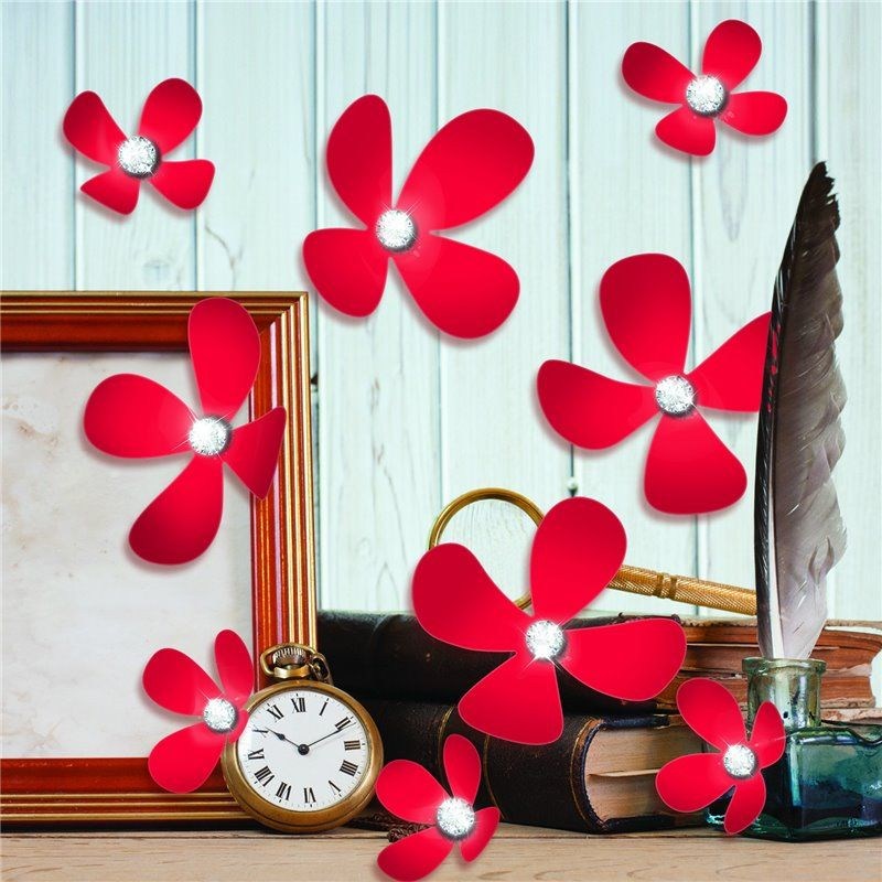 Wall sticker - crystal 3d blomster - rød fra Walplus på babygear.dk