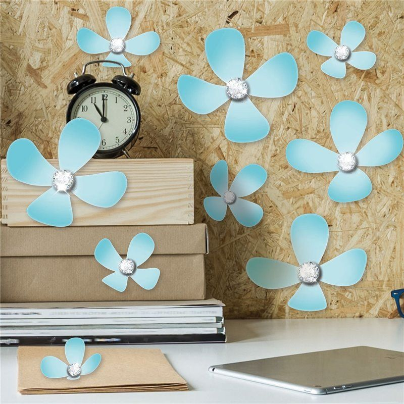 Walplus – Wall sticker - crystal 3d blomster - lyseblå på babygear.dk