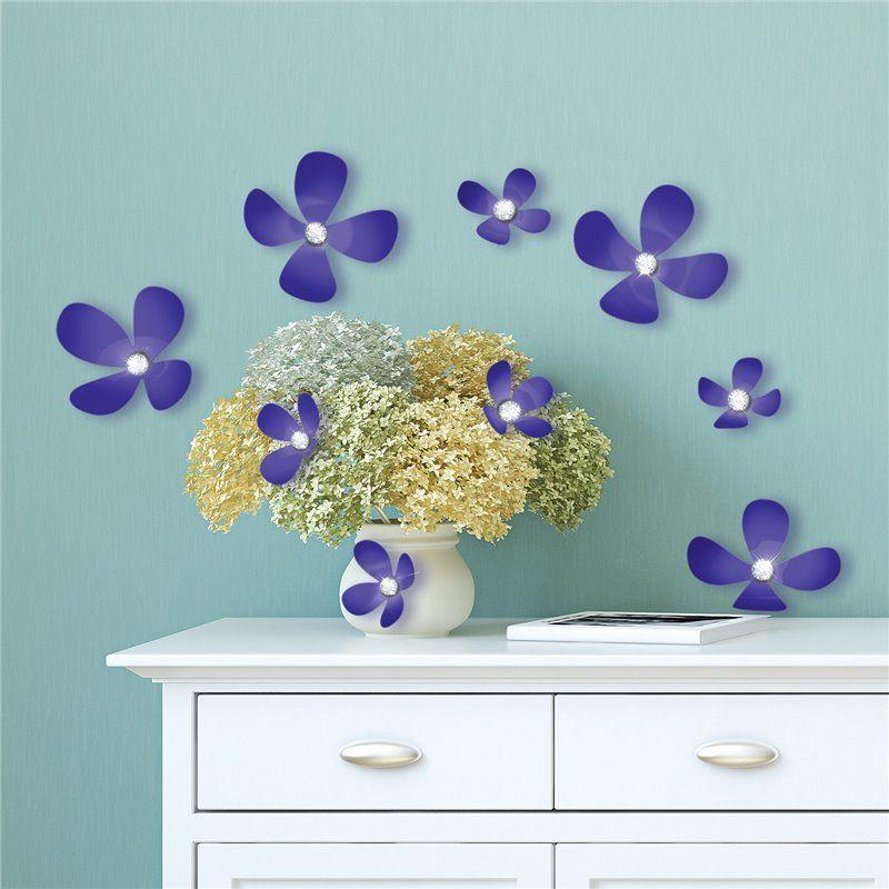 Walplus Wall sticker - crystal 3d blomster - iris fra babygear.dk