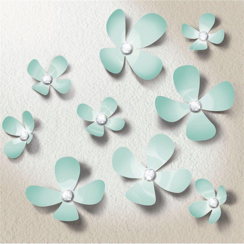 Wall sticker - crystal 3d blomster - mint fra Walplus på babygear.dk