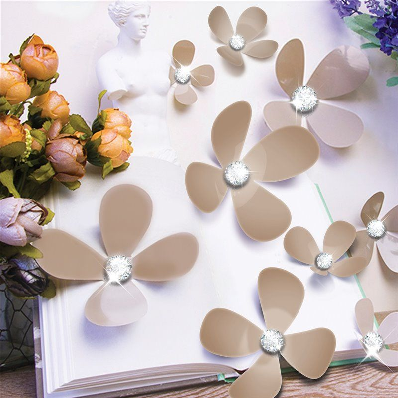 Walplus – Wall sticker - crystal 3d blomster - brown på babygear.dk