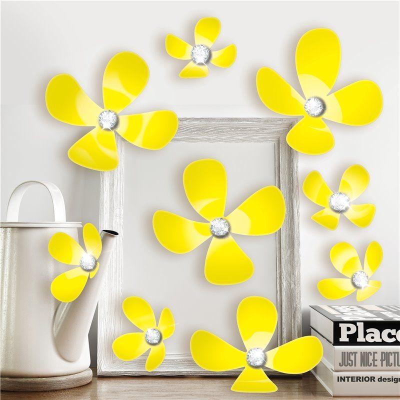 Walplus Wall sticker - crystal 3d blomster - gul på babygear.dk