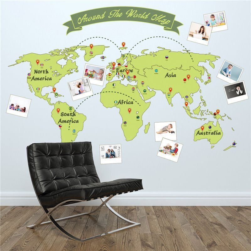 Billede af Wall sticker - Around the World Map