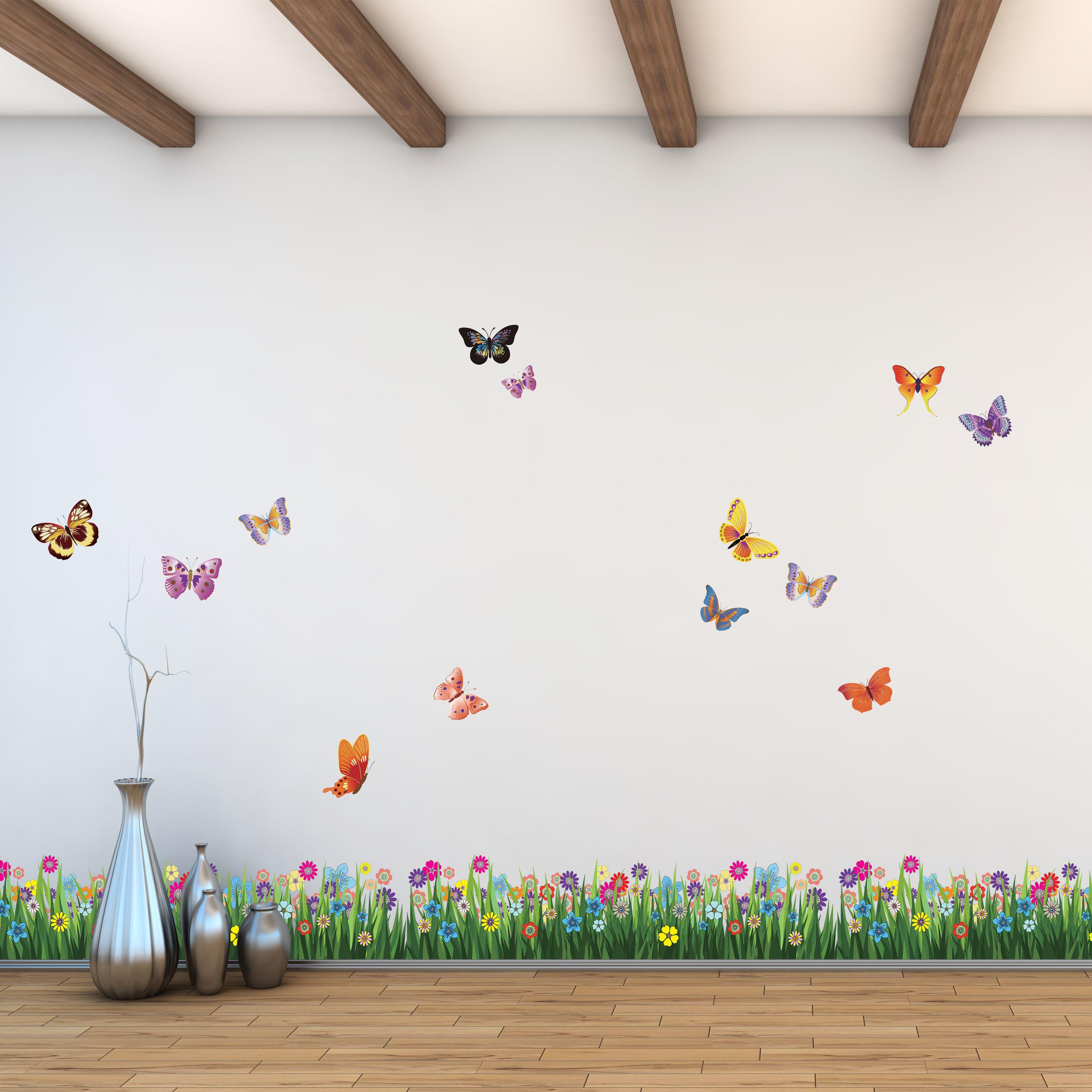 Image of   Wall sticker - Farverige Sommerfugle Grass
