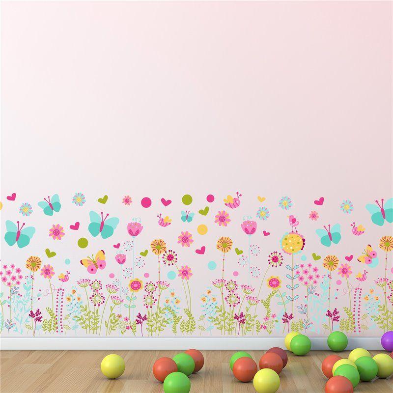 Image of Wall sticker - Farverige sommerfugle og blomster Fodlister (WS5042)