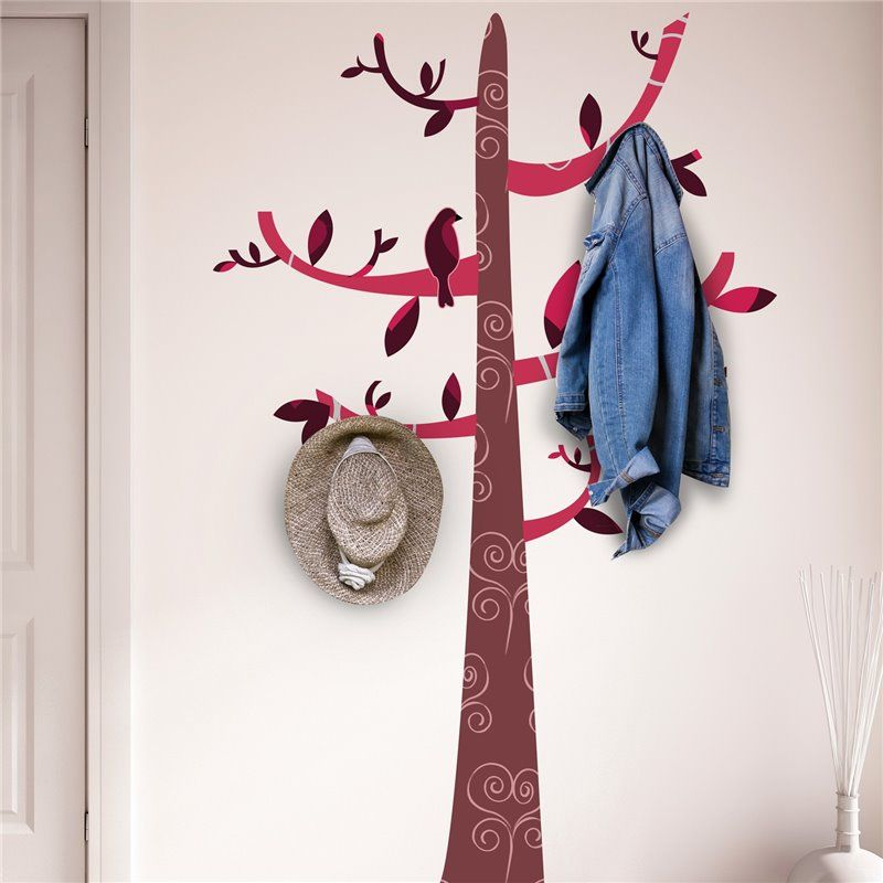 Image of   Wall sticker - Farverige mønster Tree Hook (4 Sort Kroge)