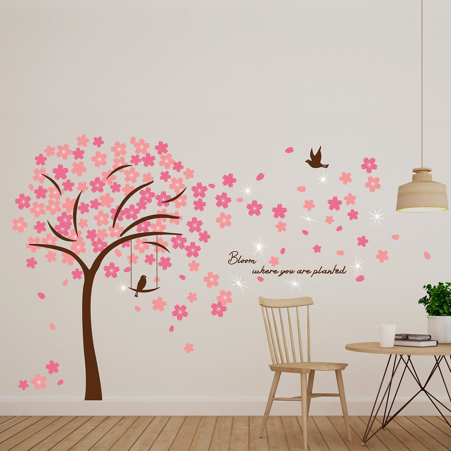 Image of   Wall sticker - Crystal Pink Blossom blomster