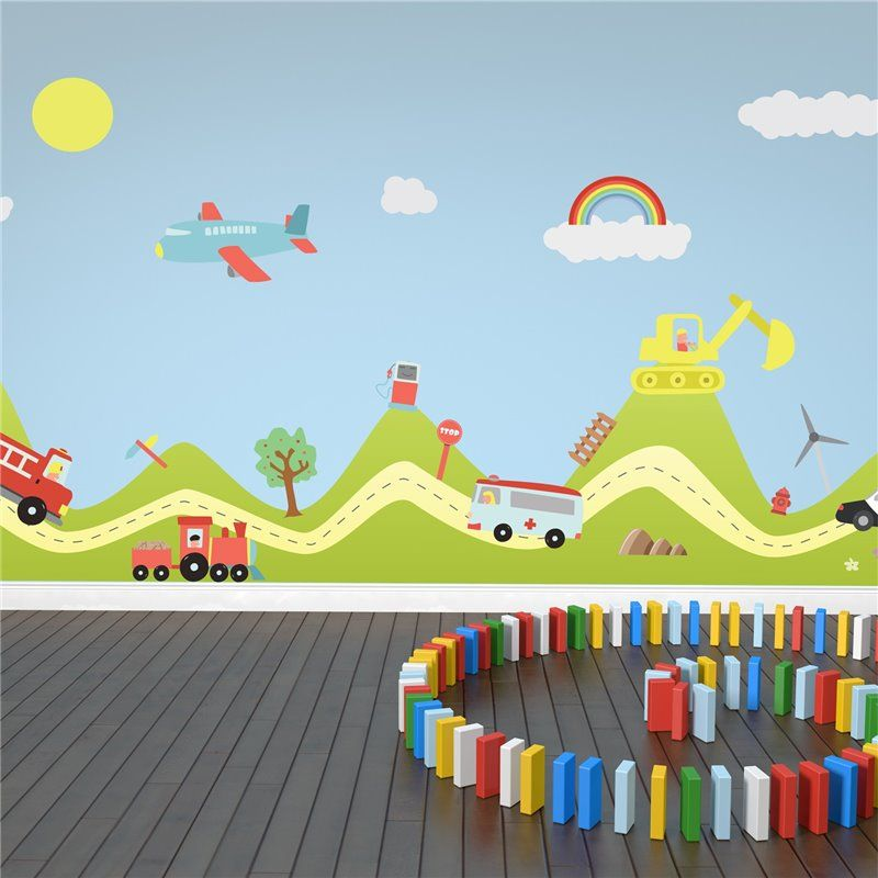 Image of   Wall sticker - Hill and Transport Cars